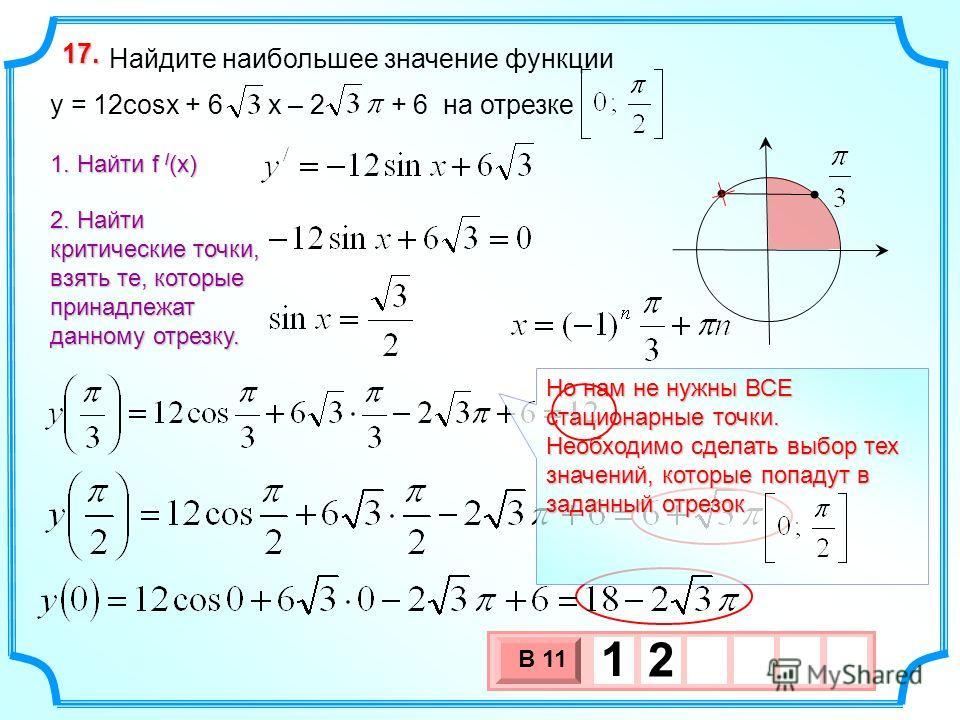 3 х 1 0 х В 11 1 2 Найдите наибольшее значение функции y = 12cosx + 6 x – 2 + 6 на отрезке 17.17.17.17. 1. Найти f / (x) 2. Найти критические точки, взять те, которые принадлежат данному отрезку. Но нам не нужны ВСЕ стационарные точки. Необходимо сде