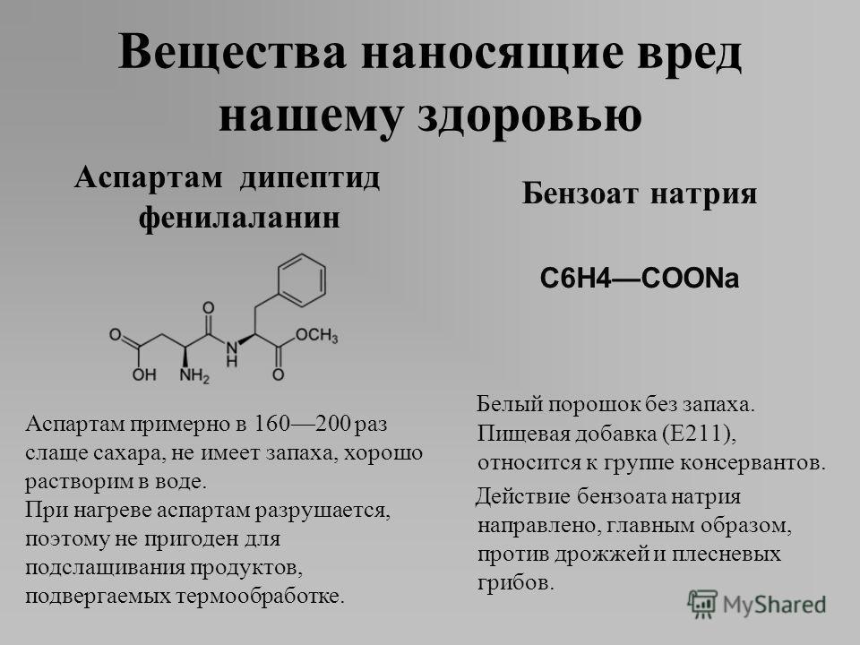 Аспартам дипептид фенилаланин Бензоат натрия C6H4COONa Белый порошок без запаха. Пищевая добавка (E211), относится к группе консервантов. Действие бензоата натрия направлено, главным образом, против дрожжей и плесневых грибов. Аспартам примерно в 160
