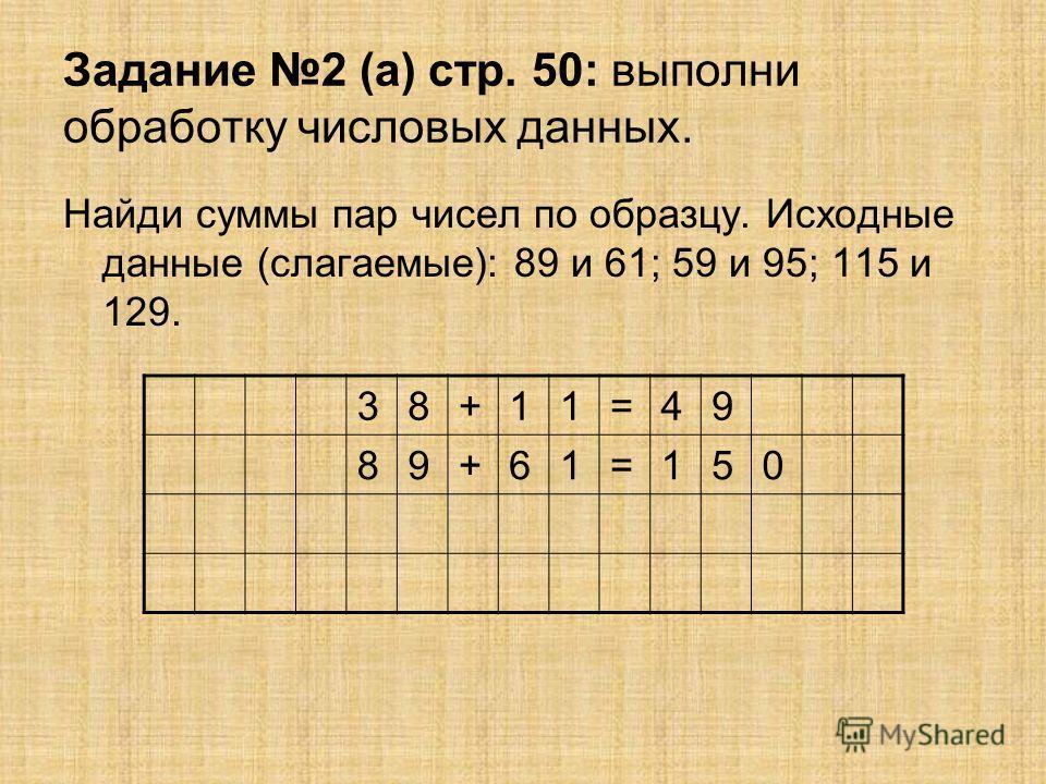 Задание 2 (а) стр. 50: выполни обработку числовых данных. Найди суммы пар чисел по образцу. Исходные данные (слагаемые): 89 и 61; 59 и 95; 115 и 129. 38+11=49 89+61=150
