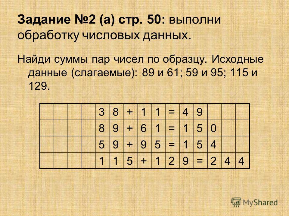 Задание 2 (а) стр. 50: выполни обработку числовых данных. Найди суммы пар чисел по образцу. Исходные данные (слагаемые): 89 и 61; 59 и 95; 115 и 129. 38+11=49 89+61=150 59+95=154 115+129=244