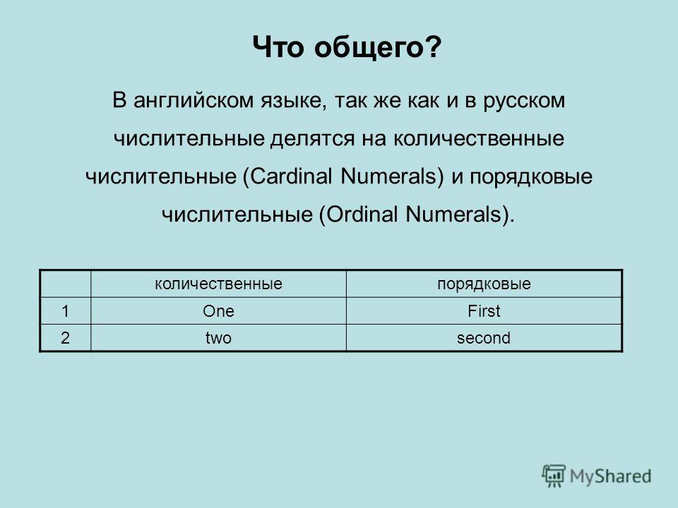 В английском языке, так же как и в русском числительные делятся на количественные числительные (Cardinal Numerals) и порядковые числительные (Ordinal Numerals). количественныепорядковые 1OneFirst 2twosecond Что общего?