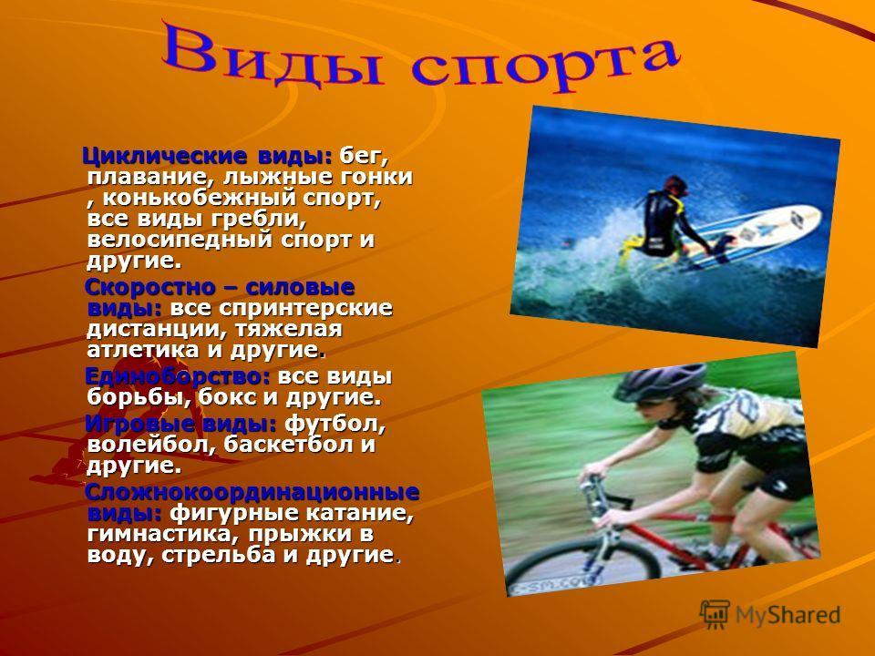 Циклические виды: бег, плавание, лыжные гонки, конькобежный спорт, все виды гребли, велосипедный спорт и другие. Циклические виды: бег, плавание, лыжные гонки, конькобежный спорт, все виды гребли, велосипедный спорт и другие. Скоростно – силовые виды