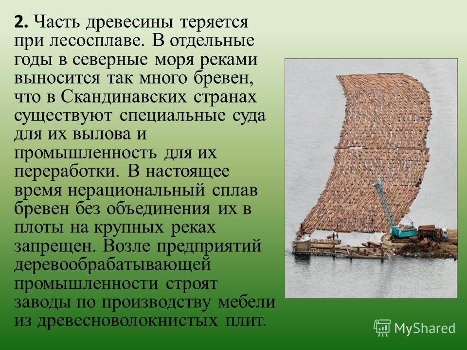 2. Часть древесины теряется при лесосплаве. В отдельные годы в северные моря реками выносится так много бревен, что в Скандинавских странах существуют специальные суда для их вылова и промышленность для их переработки. В настоящее время нерациональны
