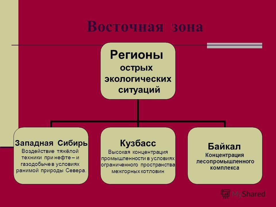 Восточная зона Регионы острых экологических ситуаций Западная Сибирь Воздействие тяжёлой техники при нефте – и газодобыче в условиях ранимой природы Севера. Кузбасс Высокая концентрация промышленности в условиях ограниченного пространства межгорных к