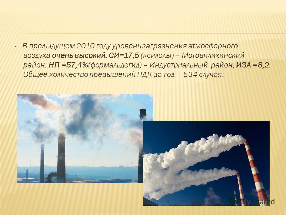 - В предыдущем 2010 году уровень загрязнения атмосферного воздуха очень высокий: СИ=17,5 (ксилолы) – Мотовилихинский район, НП =57,4%(формальдегид) – Индустриальный район, ИЗА =8,2. Общее количество превышений ПДК за год – 534 случая.
