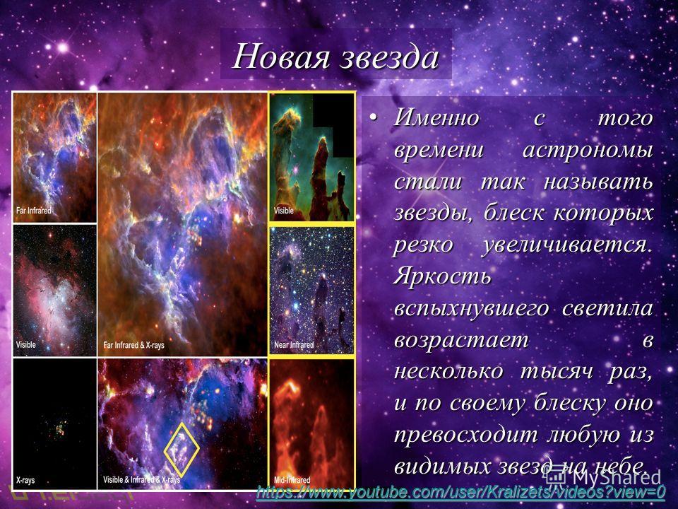 Именно с того времени астрономы стали так называть звезды, блеск которых резко увеличивается. Яркость вспыхнувшего светила возрастает в несколько тысяч раз, и по своему блеску оно превосходит любую из видимых звезд на небе.Именно с того времени астро