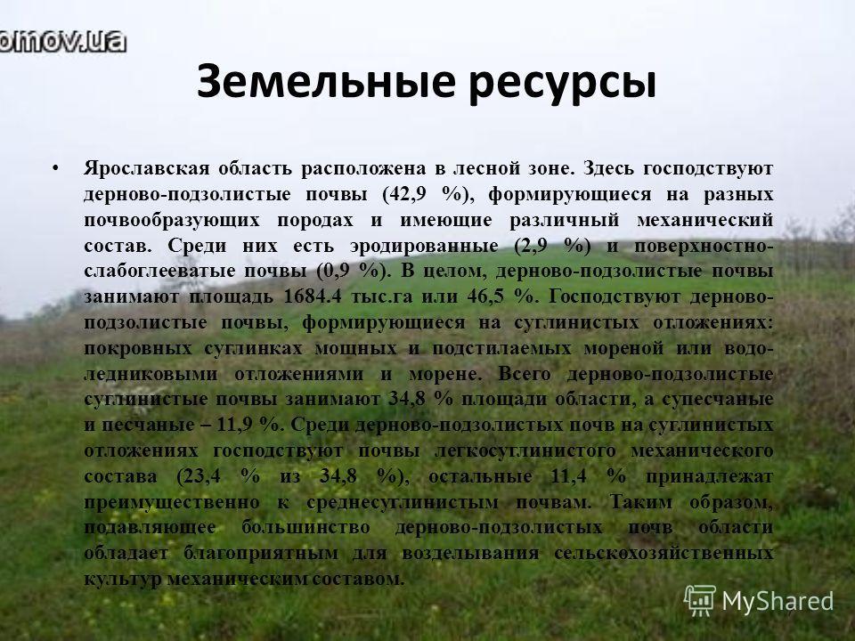 Земельные ресурсы Ярославская область расположена в лесной зоне. Здесь господствуют дерново-подзолистые почвы (42,9 %), формирующиеся на разных почвообразующих породах и имеющие различный механический состав. Среди них есть эродированные (2,9 %) и по