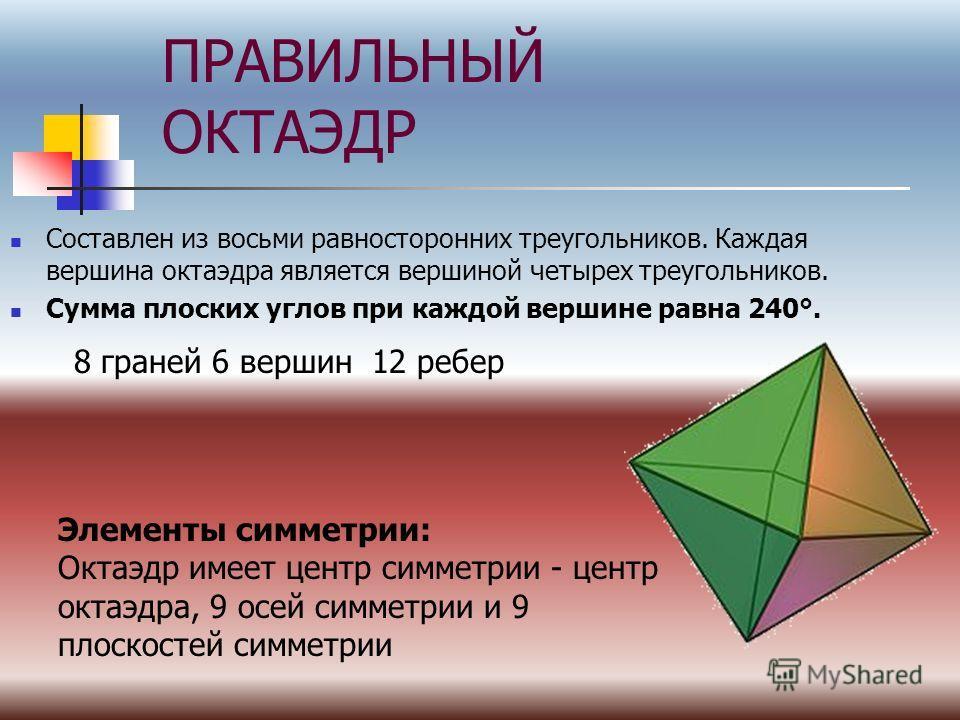 ПРАВИЛЬНЫЙ ОКТАЭДР Составлен из восьми равносторонних треугольников. Каждая вершина октаэдра является вершиной четырех треугольников. Сумма плоских углов при каждой вершине равна 240°. Элементы симметрии: Октаэдр имеет центр симметрии - центр октаэдр