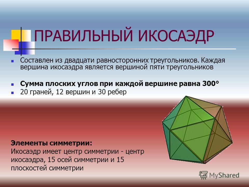 ПРАВИЛЬНЫЙ ИКОСАЭДР Составлен из двадцати равносторонних треугольников. Каждая вершина икосаэдра является вершиной пяти треугольников Сумма плоских углов при каждой вершине равна 300° 20 граней, 12 вершин и 30 ребер Элементы симметрии: Икосаэдр имеет