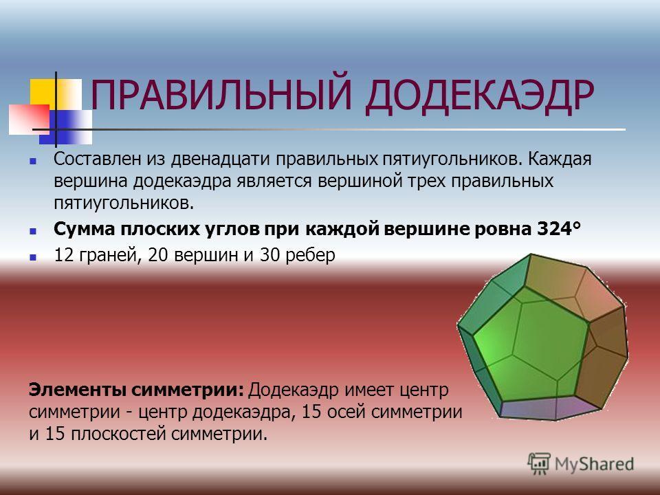 ПРАВИЛЬНЫЙ ДОДЕКАЭДР Составлен из двенадцати правильных пятиугольников. Каждая вершина додекаэдра является вершиной трех правильных пятиугольников. Сумма плоских углов при каждой вершине ровна 324° 12 граней, 20 вершин и 30 ребер Элементы симметрии: