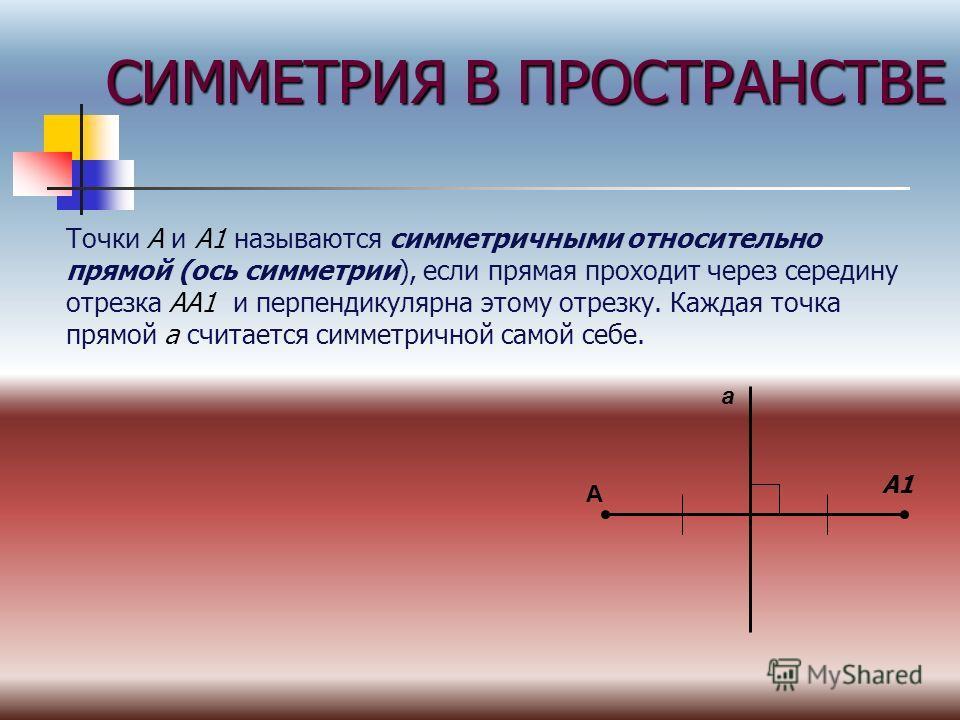 СИММЕТРИЯ В ПРОСТРАНСТВЕ Точки А и А1 называются симметричными относительно прямой (ось симметрии), если прямая проходит через середину отрезка АА1 и перпендикулярна этому отрезку. Каждая точка прямой а считается симметричной самой себе. А а А1