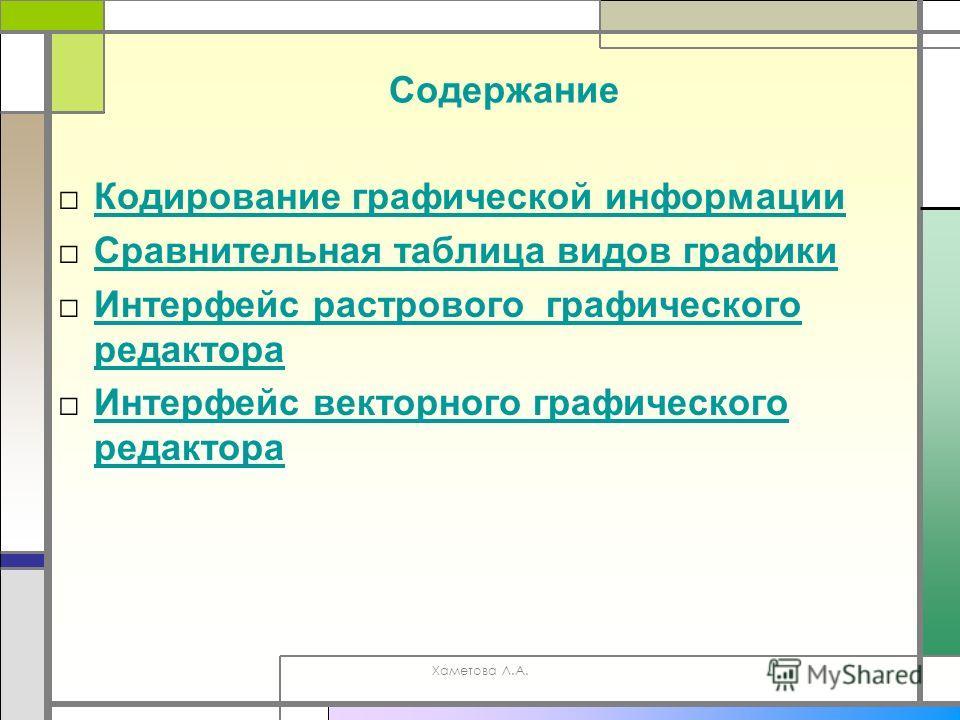 Хаметова Л.А. Содержание Кодирование графической информации Сравнительная таблица видов графики Интерфейс растрового графического редактора Интерфейс растрового графического редактора Интерфейс векторного графического редактора Интерфейс векторного г