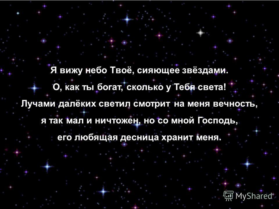 Я вижу небо Твоё, сияющее звёздами. О, как ты богат, сколько у Тебя света! Лучами далёких светил смотрит на меня вечность, я так мал и ничтожен, но со мной Господь, его любящая десница хранит меня.
