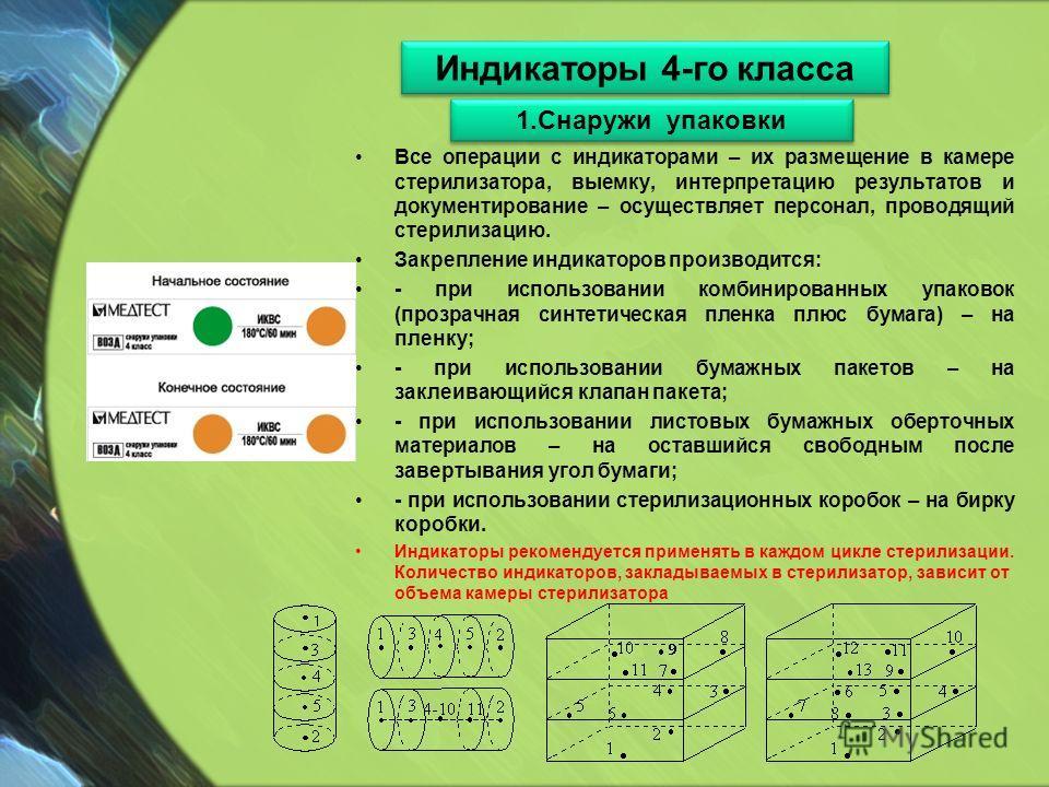 Все операции с индикаторами – их размещение в камере стерилизатора, выемку, интерпретацию результатов и документирование – осуществляет персонал, проводящий стерилизацию. Закрепление индикаторов производится: - при использовании комбинированных упако