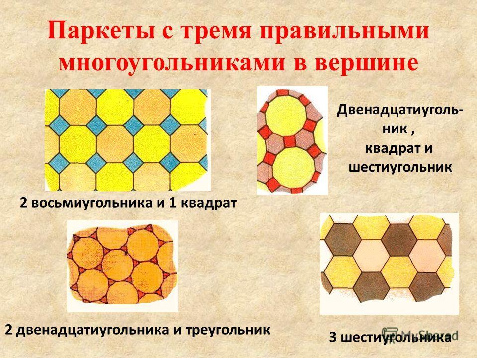 Паркеты с тремя правильными многоугольниками в вершине 3 шестиугольника 2 восьмиугольника и 1 квадрат Двенадцатиуголь- ник, квадрат и шестиугольник 2 двенадцатиугольника и треугольник