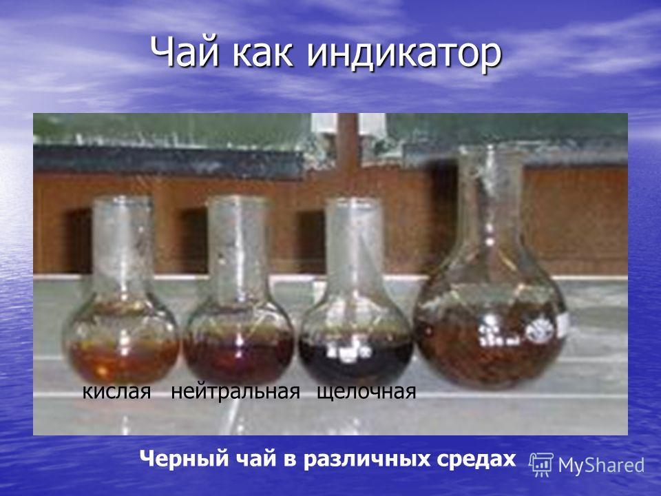 Чай как индикатор Черный чай в различных средах кислаянейтральнаящелочная