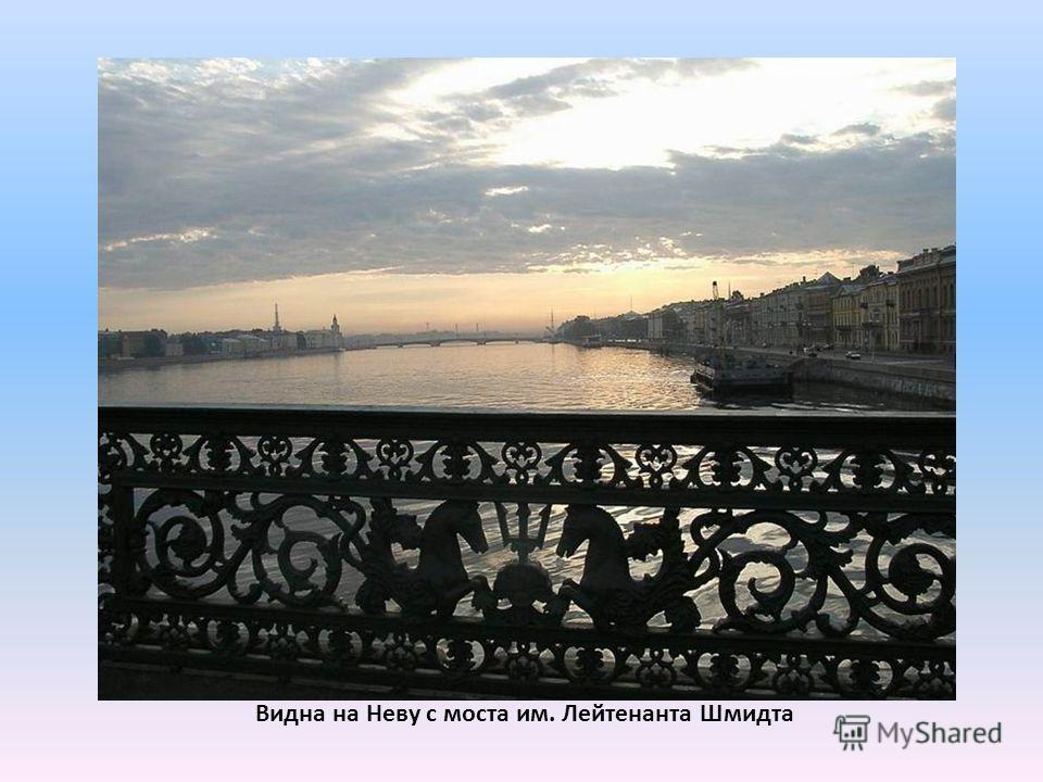 Видна на Неву с моста им. Лейтенанта Шмидта