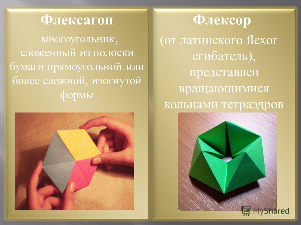 Флексагон многоугольник, сложенный из полоски бумаги прямоугольной или более сложной, изогнутой формы Флексагон многоугольник, сложенный из полоски бумаги прямоугольной или более сложной, изогнутой формы Флексор (от латинского flexor – сгибатель), пр