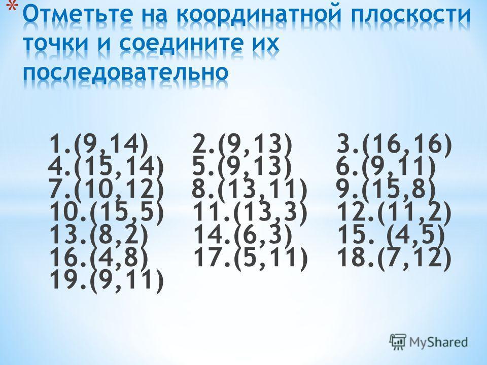 1.(9,14) 2.(9,13) 3.(16,16) 4.(15,14) 5.(9,13) 6.(9,11) 7.(10,12) 8.(13,11) 9.(15,8) 10.(15,5) 11.(13,3) 12.(11,2) 13.(8,2) 14.(6,3) 15. (4,5) 16.(4,8) 17.(5,11) 18.(7,12) 19.(9,11)