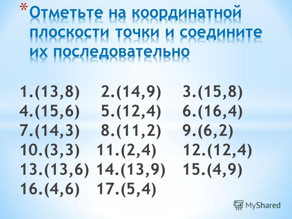 1.(13,8) 2.(14,9) 3.(15,8) 4.(15,6) 5.(12,4) 6.(16,4) 7.(14,3) 8.(11,2) 9.(6,2) 10.(3,3) 11.(2,4) 12.(12,4) 13.(13,6) 14.(13,9) 15.(4,9) 16.(4,6) 17.(5,4)
