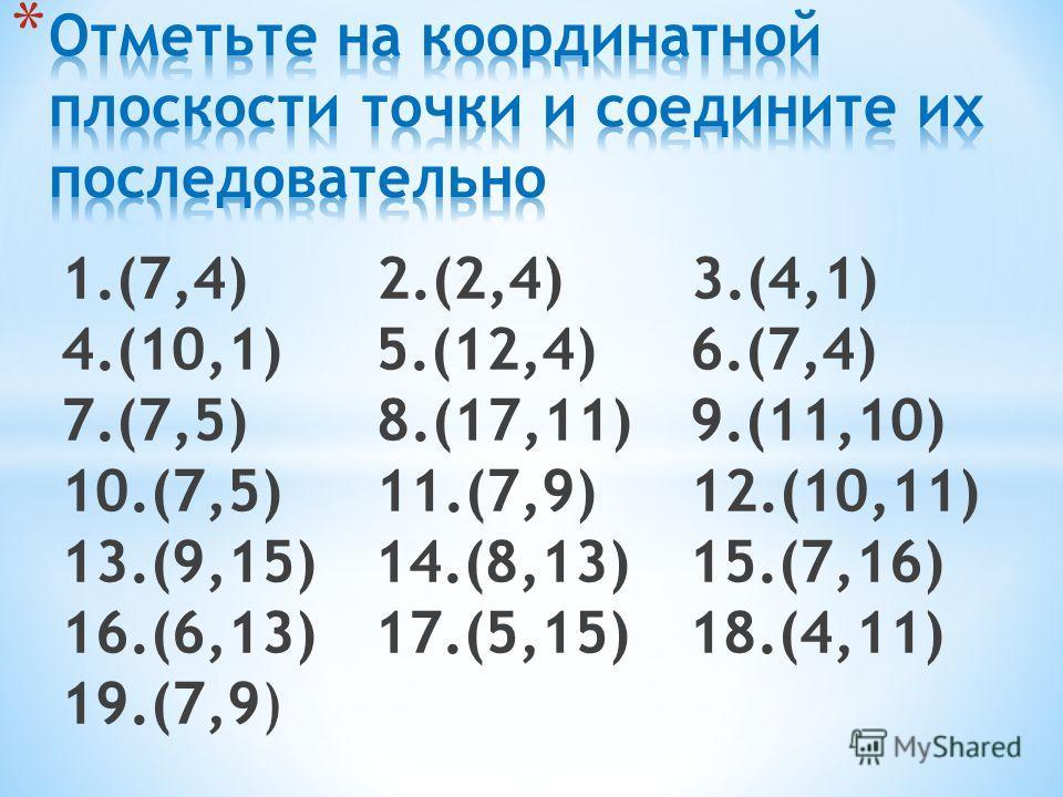 1.(7,4) 2.(2,4) 3.(4,1) 4.(10,1) 5.(12,4) 6.(7,4) 7.(7,5) 8.(17,11) 9.(11,10) 10.(7,5) 11.(7,9) 12.(10,11) 13.(9,15) 14.(8,13) 15.(7,16) 16.(6,13) 17.(5,15) 18.(4,11) 19.(7,9)