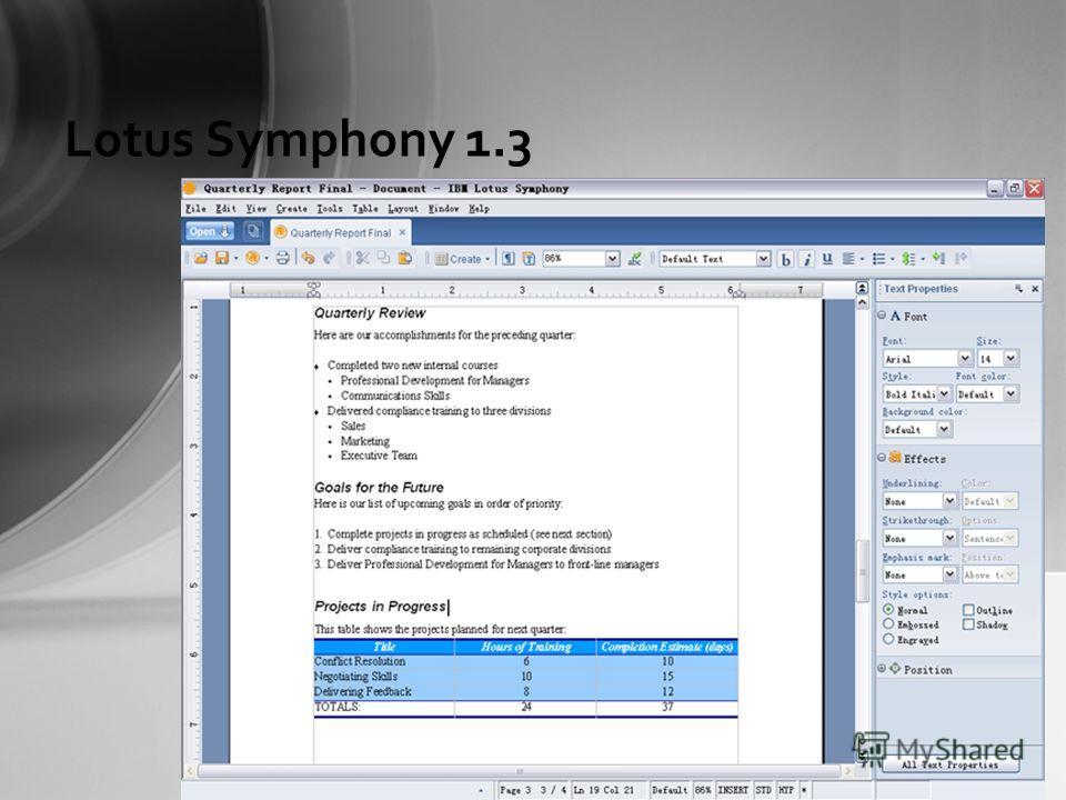 Lotus Symphony 1.3