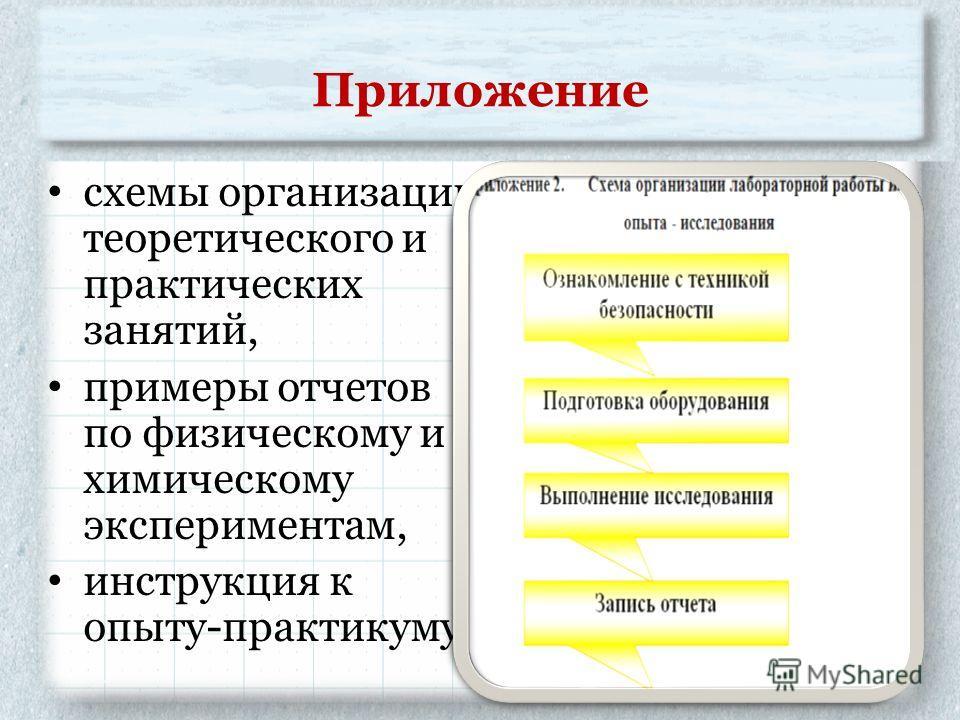 Приложение схемы организации теоретического и практических занятий, примеры отчетов по физическому и химическому экспериментам, инструкция к опыту-практикуму.
