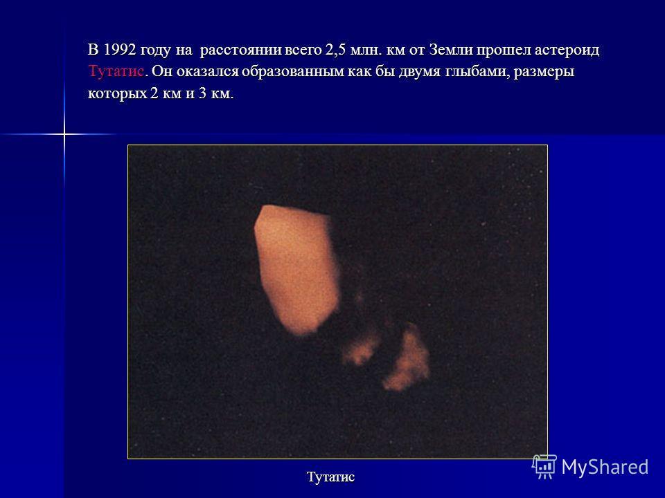 В 1992 году на расстоянии всего 2,5 млн. км от Земли прошел астероид Тутатис. Он оказался образованным как бы двумя глыбами, размеры которых 2 км и 3 км. Тутатис
