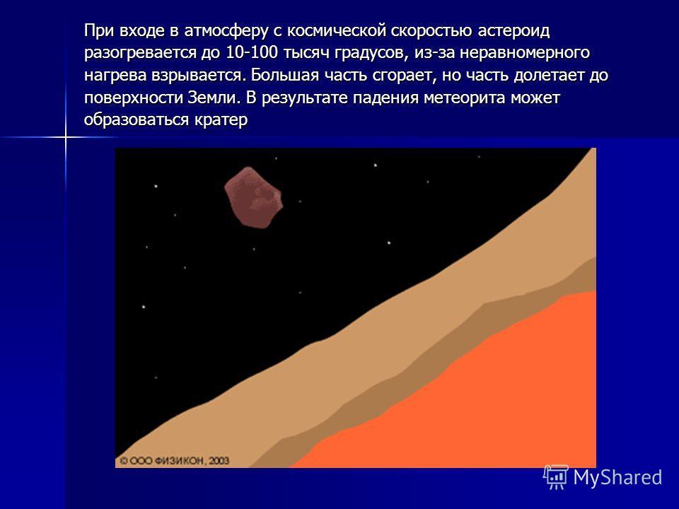 При входе в атмосферу с космической скоростью астероид разогревается до 10-100 тысяч градусов, из-за неравномерного нагрева взрывается. Большая часть сгорает, но часть долетает до поверхности Земли. В результате падения метеорита может образоваться к