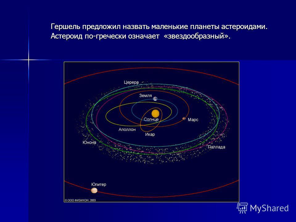 Гершель предложил назвать маленькие планеты астероидами. Астероид по-гречески означает «звездообразный».
