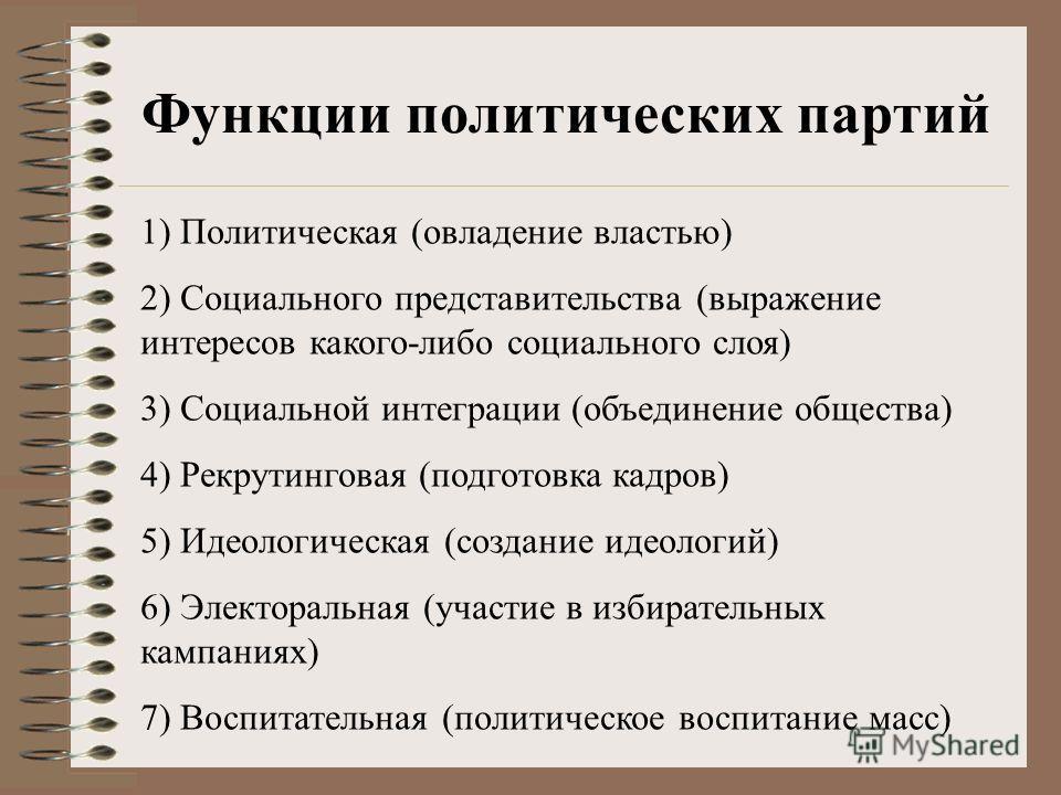 Функции политических партий 1) Политическая (овладение властью) 2) Социального представительства (выражение интересов какого-либо социального слоя) 3) Социальной интеграции (объединение общества) 4) Рекрутинговая (подготовка кадров) 5) Идеологическая