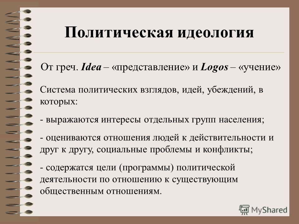 Политическая идеология От греч. Idea – «представление» и Logos – «учение» Система политических взглядов, идей, убеждений, в которых: - выражаются интересы отдельных групп населения; - оцениваются отношения людей к действительности и друг к другу, соц