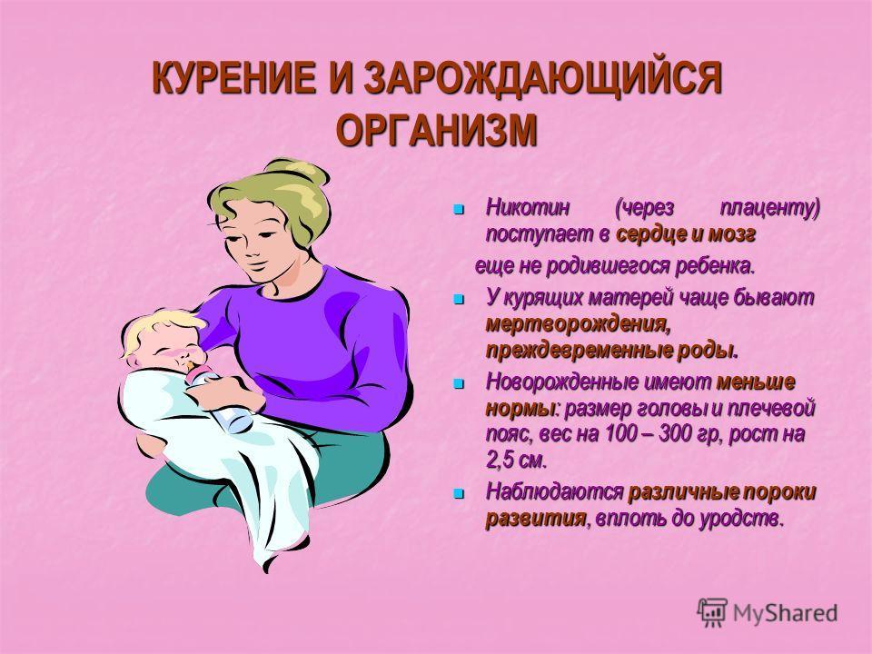 КУРЕНИЕ И ЗАРОЖДАЮЩИЙСЯ ОРГАНИЗМ Никотин (через плаценту) поступает в сердце и мозг Никотин (через плаценту) поступает в сердце и мозг еще не родившегося ребенка. еще не родившегося ребенка. У курящих матерей чаще бывают мертворождения, преждевременн