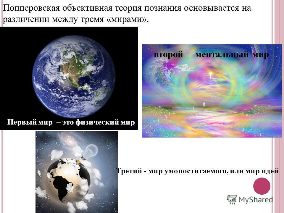 Попперовская объективная теория познания основывается на различении между тремя «мирами». Первый мир – это физический мир второй – ментальный мир Третий - мир умопостигаемого, или мир идей