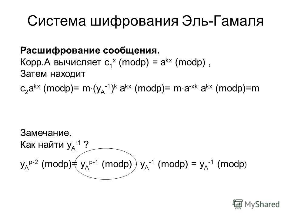 Система шифрования Эль-Гамаля Расшифрование сообщения. Корр.А вычисляет c 1 x (modp) = a kx (modp), Затем находит c 2 a kx (modp)= m (y A -1 ) k a kx (modp)= m a -xk a kx (modp)=m Замечание. Как найти y A -1 ? y A p-2 (modp)= y A p-1 (modp) y A -1 (m