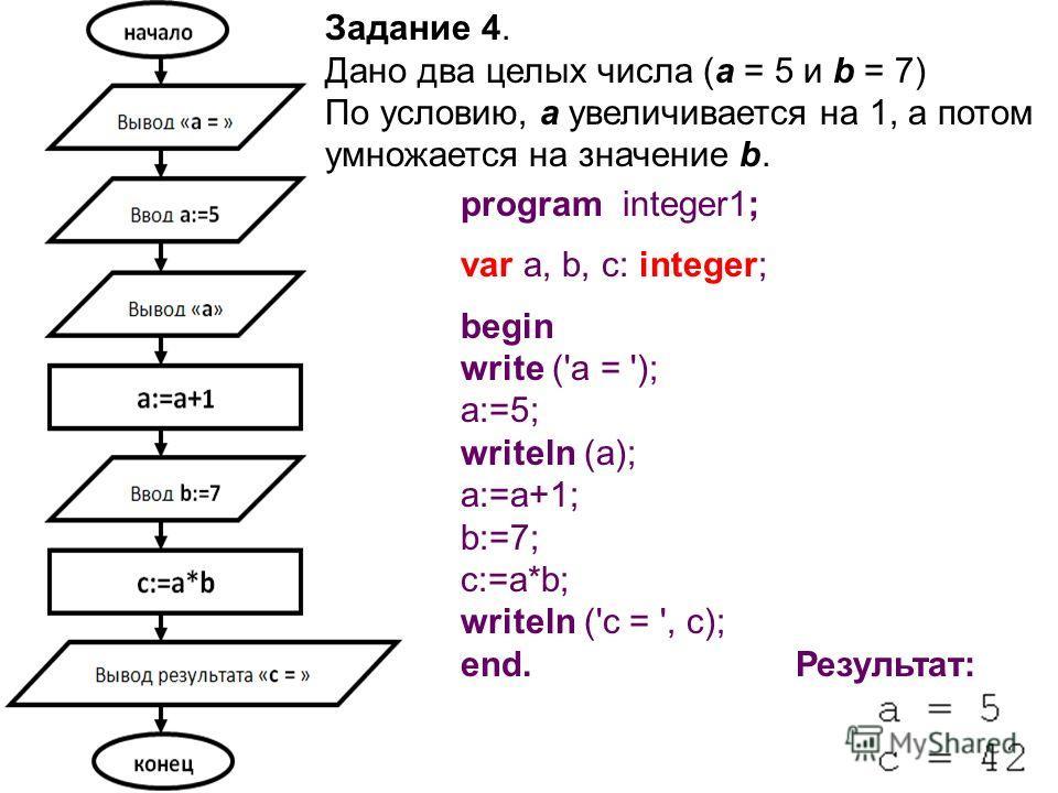 Задание 4. Дано два целых числа (a = 5 и b = 7) По условию, а увеличивается на 1, а потом умножается на значение b. program integer1; var a, b, c: integer; begin write ('a = '); a:=5; writeln (a); a:=a+1; b:=7; c:=a*b; writeln ('c = ', c); end. Резул