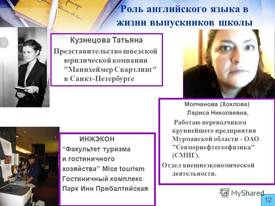 Роль английского языка в жизни выпускников школы Кузнецова Татьяна Представительство шведской юридической компании