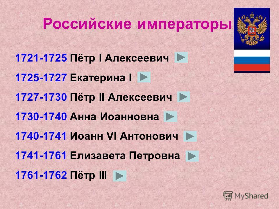 1613-1645 Михаил Фёдорович 1645-1676 Алексей Михайлович 1676-1682 Фёдор Алексеевич 1682-1721 Пётр I Алексеевич Русские цари
