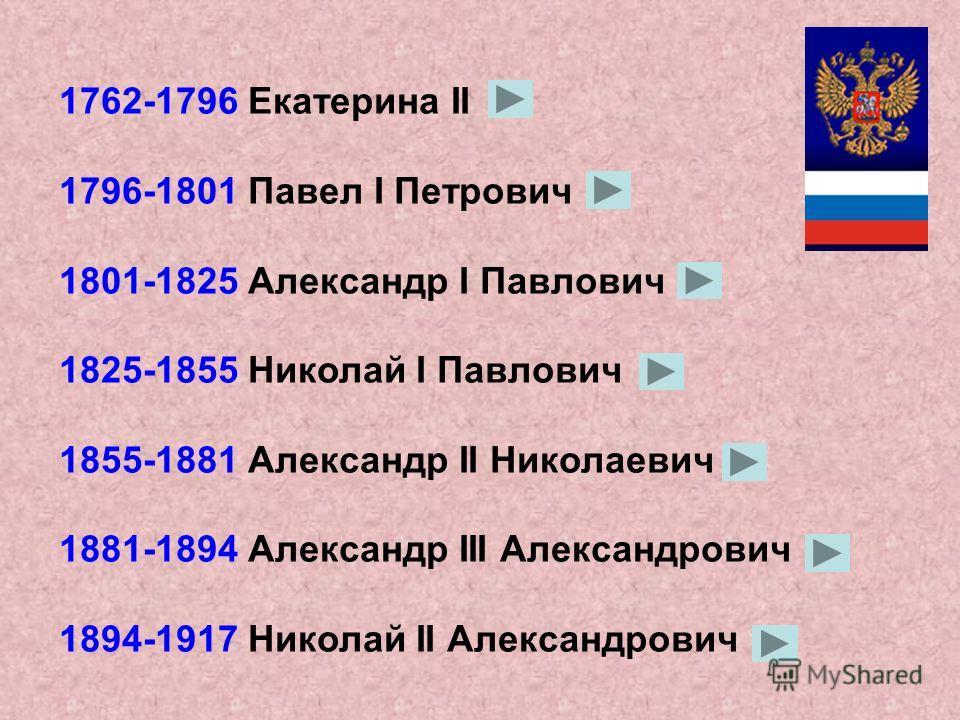 Российские императоры 1721-1725 Пётр I Алексеевич 1725-1727 Екатерина I 1727-1730 Пётр II Алексеевич 1730-1740 Анна Иоанновна 1740-1741 Иоанн VI Антонович 1741-1761 Елизавета Петровна 1761-1762 Пётр III