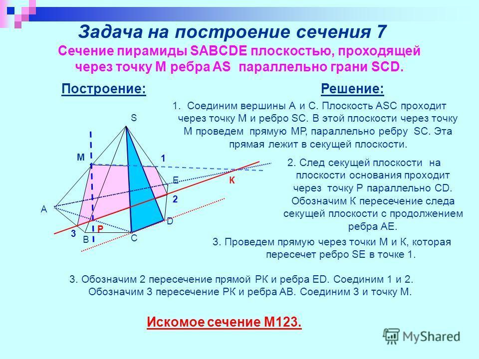 Задача на построение сечения 7 Сечение пирамиды SABCDE плоскостью, проходящей через точку M ребра AS параллельно грани SCD. Построение: S C A D B E M P 1 2 3 К Решение: 1. Соединим вершины А и С. Плоскость ASC проходит через точку М и ребро SC. В это