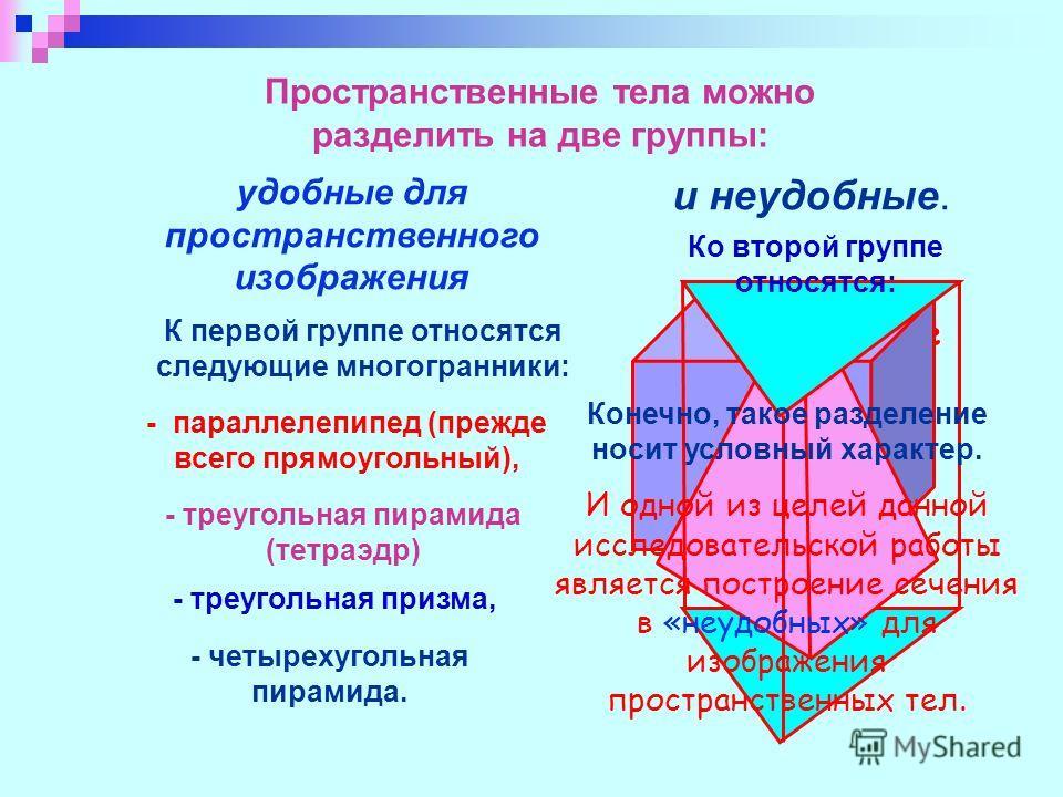 все остальные фигуры Пространственные тела можно разделить на две группы: удобные для пространственного изображения и неудобные. К первой группе относятся следующие многогранники: - параллелепипед (прежде всего прямоугольный), - треугольная призма, -