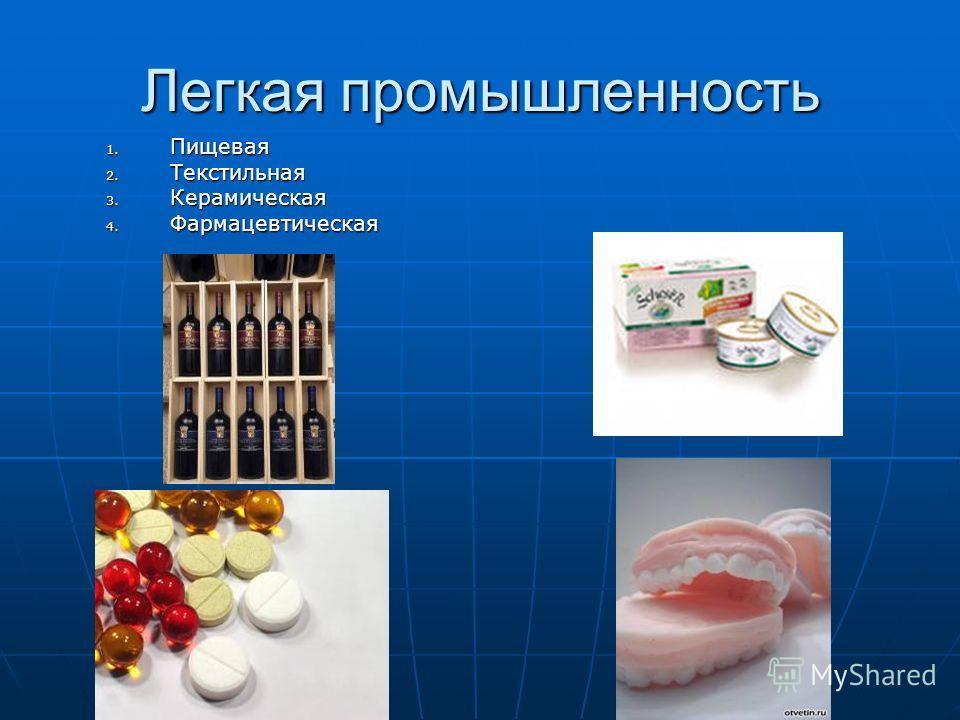 Легкая промышленность 1. Пищевая 2. Текстильная 3. Керамическая 4. Фармацевтическая