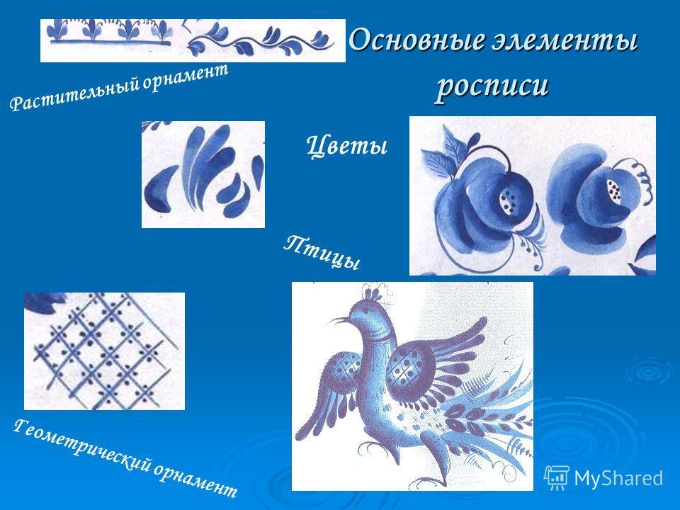 Основные элементы росписи Растительный орнамент Геометрический орнамент Птицы Цветы