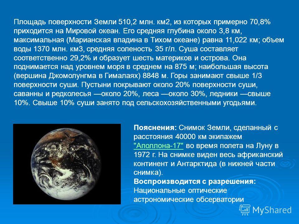 Площадь поверхности Земли 510,2 млн. км2, из которых примерно 70,8% приходится на Мировой океан. Его средняя глубина около 3,8 км, максимальная (Марианская впадина в Тихом океане) равна 11,022 км; объем воды 1370 млн. км3, средняя соленость 35 г/л. С