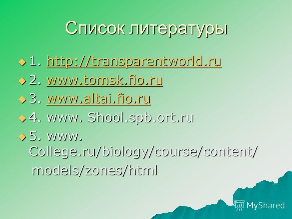 Список литературы 1. http://transparentworld.ru 1. http://transparentworld.ruhttp://transparentworld.ru 2. www.tomsk.fio.ru 2. www.tomsk.fio.ruwww.tomsk.fio.ru 3. www.altai.fio.ru 3. www.altai.fio.ruwww.altai.fio.ru 4. www. Shool.spb.ort.ru 4. www. S