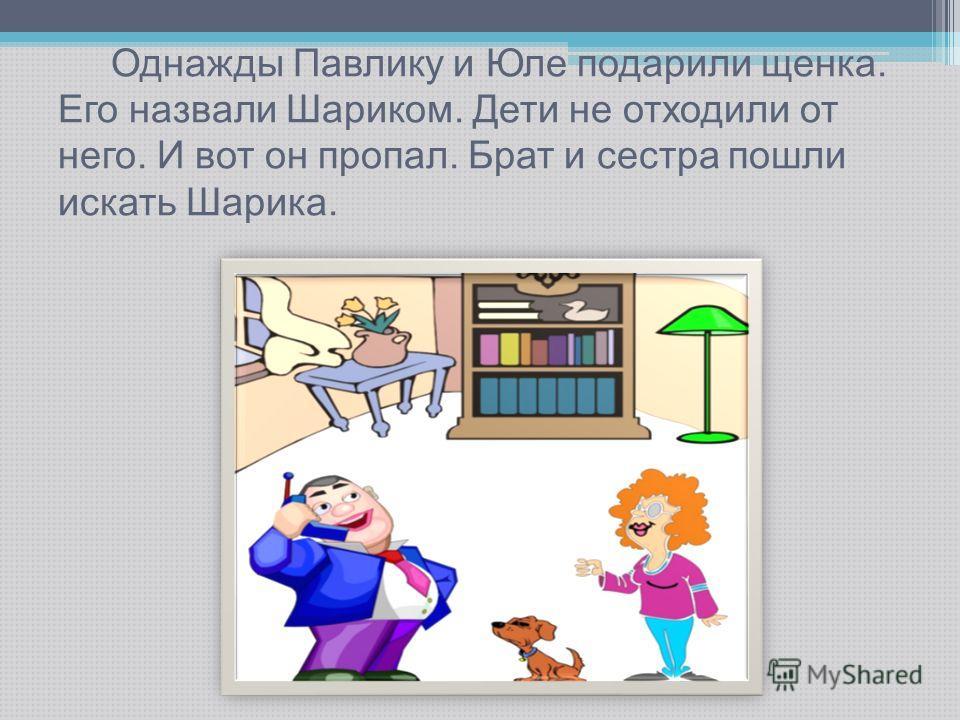 Однажды Павлику и Юле подарили щенка. Его назвали Шариком. Дети не отходили от него. И вот он пропал. Брат и сестра пошли искать Шарика.