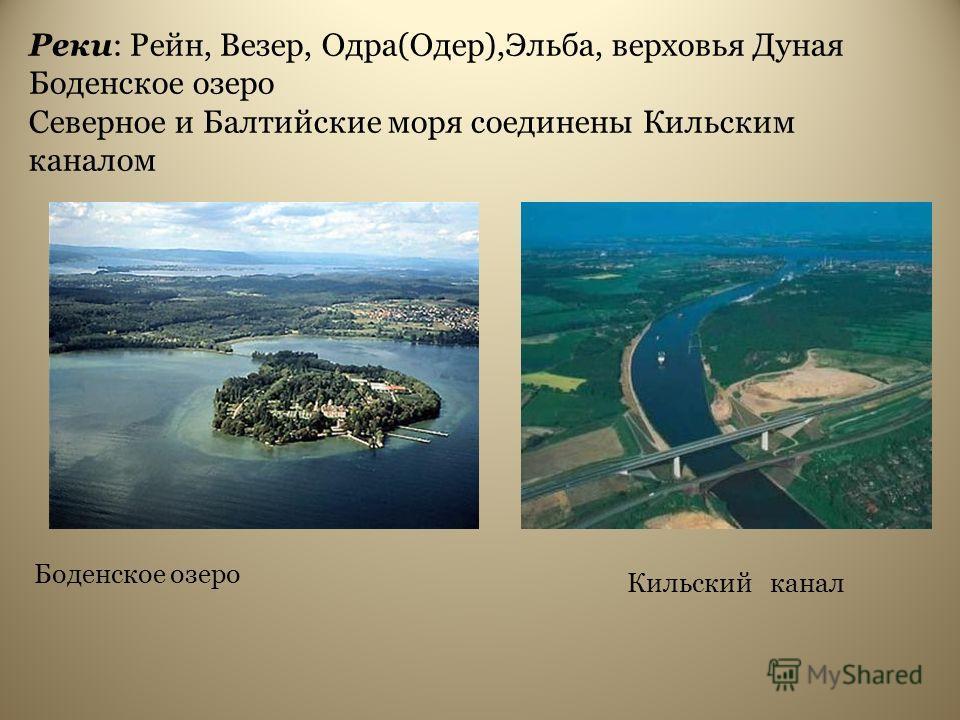 Реки: Рейн, Везер, Одра(Одер),Эльба, верховья Дуная Боденское озеро Северное и Балтийские моря соединены Кильским каналом Кильский канал Боденское озеро