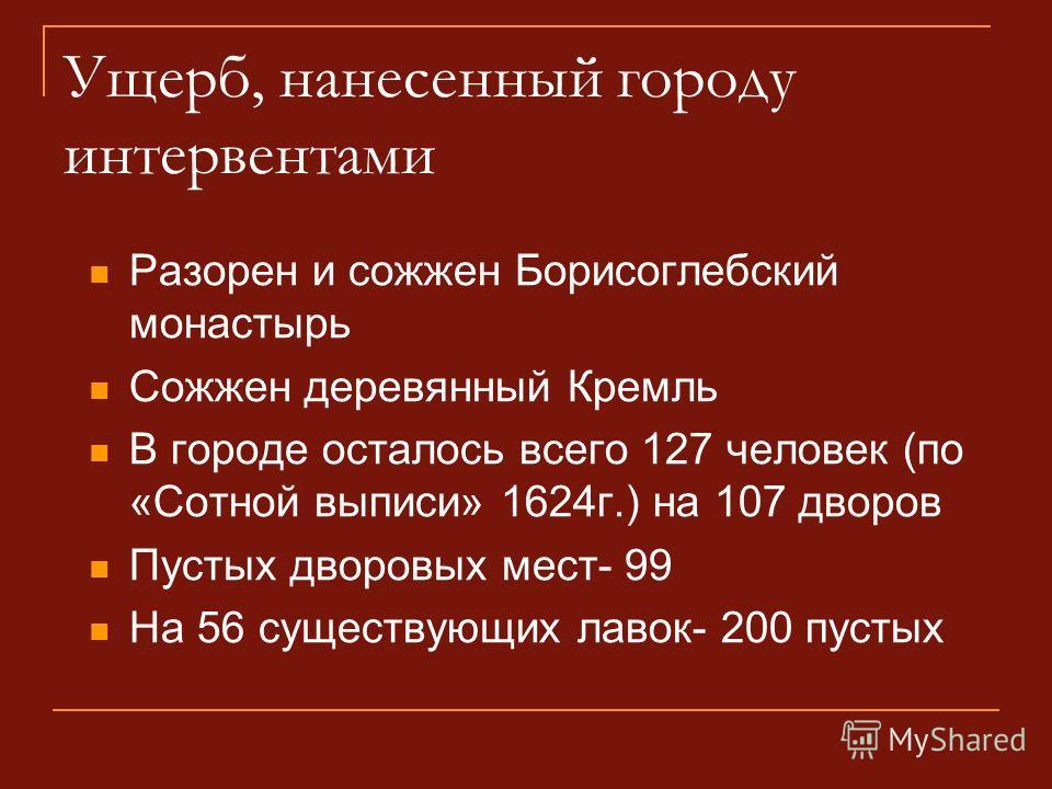 Ущерб, нанесенный городу интервентами Разорен и сожжен Борисоглебский монастырь Сожжен деревянный Кремль В городе осталось всего 127 человек (по «Сотной выписи» 1624г.) на 107 дворов Пустых дворовых мест- 99 На 56 существующих лавок- 200 пустых