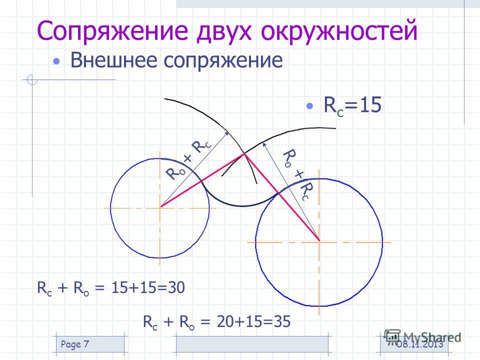 08.11.2013Page 7 Сопряжение двух окружностей Внешнее сопряжение R с =15 R о + R с R с + R о = 15+15=30 R с + R о = 20+15=35