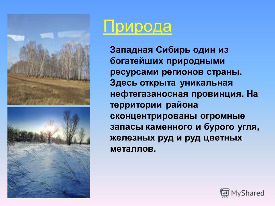 Природа Западная Сибирь один из богатейших природными ресурсами регионов страны. Здесь открыта уникальная нефтегазаносная провинция. На территории района сконцентрированы огромные запасы каменного и бурого угля, железных руд и руд цветных металлов.